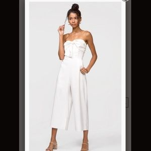 White bow front ankle  jumpsuit
